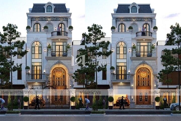 Thiết kế biệt thự phố 4 tầng mặt tiền 7m sâu 20m BT2132