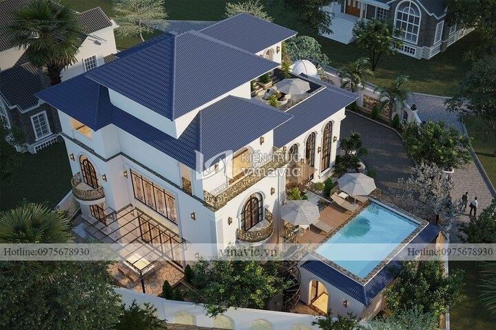 Mẫu nhà 2 mặt tiền vát góc 2,5 tầng tân cổ điển mái nhật BT2144