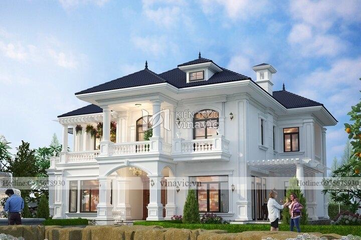 Thiết kế biệt thự 2 tầng mái nhật phong cách tân cổ điển BT2140
