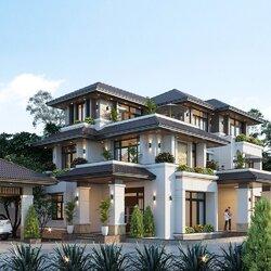 Thiết kế biệt thự 3 tầng phong cách hiện đại mái nhật BT2141