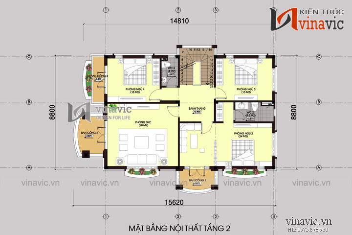Mẫu nhà biệt thự 3 tầng sang trọng tone đường nét tinh tế BT1488
