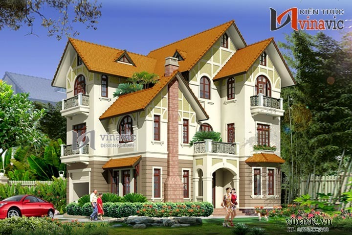 Mẫu nhà 180m2 5 phòng ngủ 3 tầng mặt tiền 11m thiết kế kiểu tân cổ BT1486