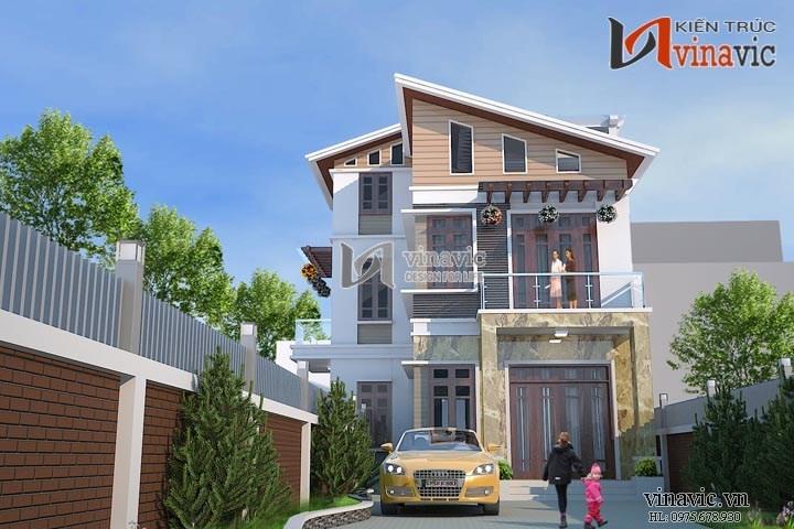 Mẫu thiết kế nhà biệt thự 3 tầng phong cách hiện đại BT1487