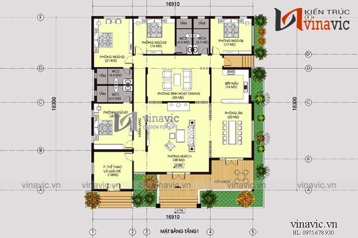 Nhà vuông 1 tầng phong cách hiện đại BT1509
