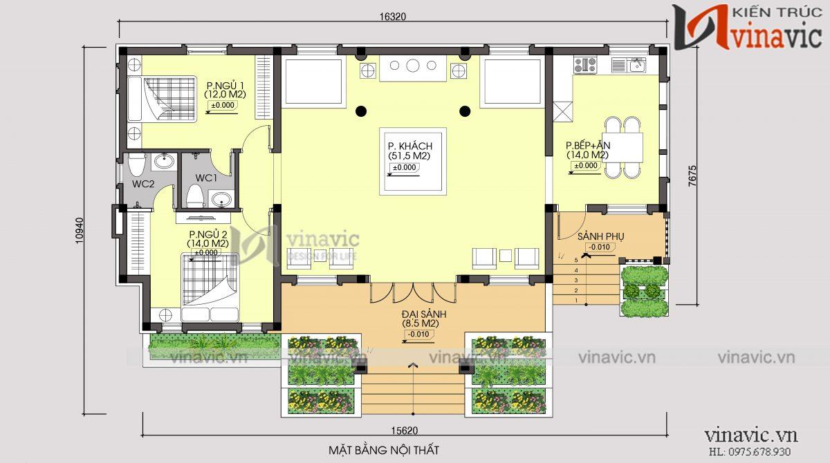 mặt bằng tầng 1 thiết kế nhà 1 tầng 2 phòng ngủ mặt tiền 16m dài 10m đầu tư 800 triệu