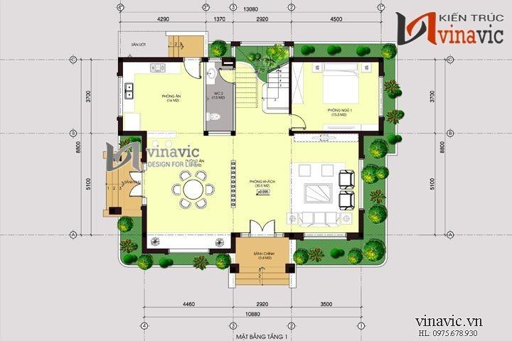 Nhà biệt thự 2 tầng hình vuông khang trang và vững trãi BT1431