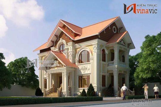 Mẫu biệt thự đẹp thiết kế theo phong cách cổ điển Pháp BTCC1401