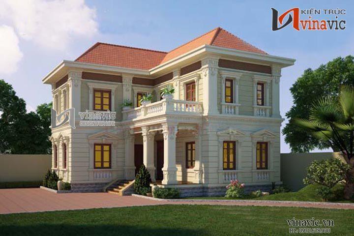 Biệt thự cổ điển đẹp tone màu vàng trắng mái ngói đỏ tươi BTCC1405