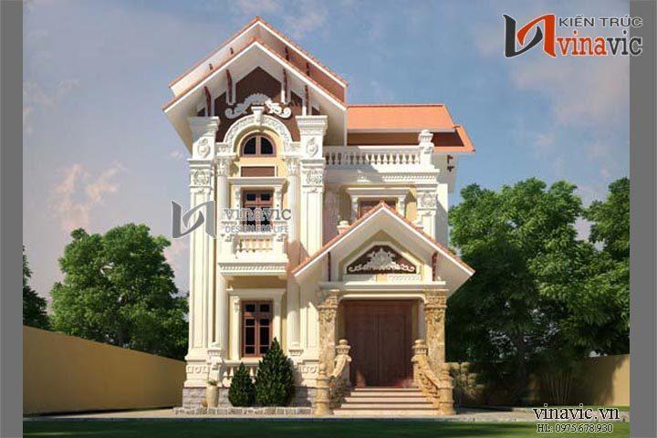 Mẫu biệt thự cổ điển đẹp thiết kế tinh tế hoa văn cầu kỳ BTCC1430