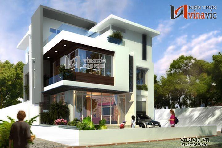 Mẫu biệt thự hiện đại đẹp giữa phố phường tấp nập BTCC1424