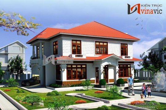 Mẫu nhà 2 tầng 130m2 4 phòng ngủ sân vườn rộng dt 10mx13m BT1454