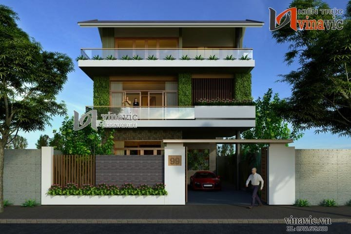 Thiết kế nhà biệt thự phong cách hiện đại đẹp BTCC1439