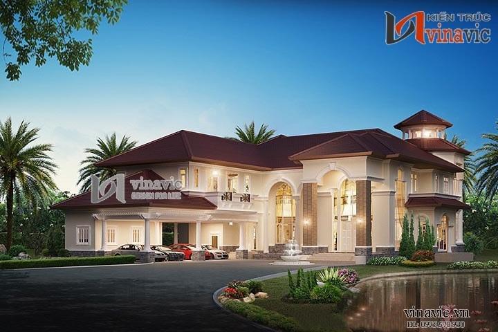 Mẫu thiết kế dinh thự đẹp nhẹ nhàng thanh lịch LDDT02