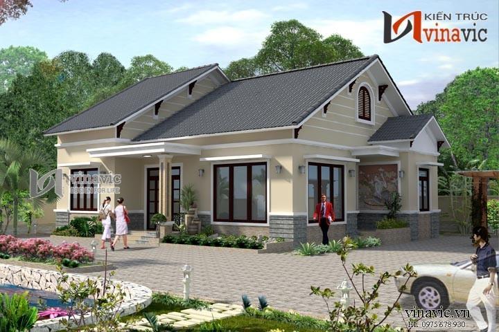 Mẫu thiết kế biệt thự nhà vườn 1 tầng BT1492
