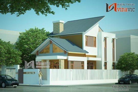 Thiết kế nhà 2 tầng 4 phòng ngủ diện tích 150m2 mặt tiền 8m BT1433