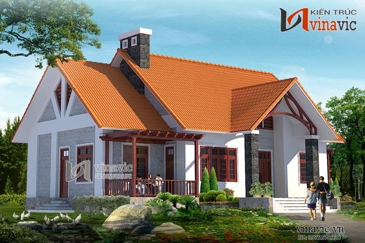 Thiết kế nhà 1 tầng rộng 17m dài 12m 3 phòng ngủ ở Ninh Bình BT1461