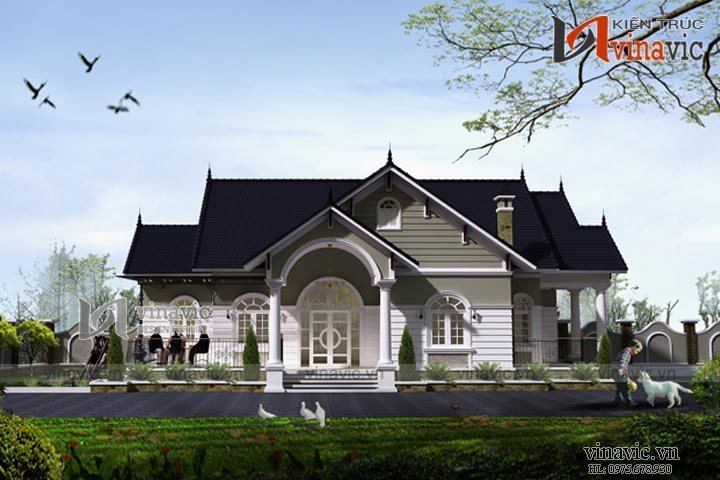 Biệt thự nhà vườn tân cổ điển 1 tầng đẹp BT1513