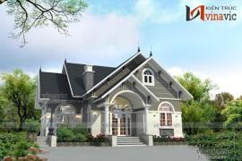 Mẫu nhà mái thái 1 tầng phong cách tân cổ điển BT1522