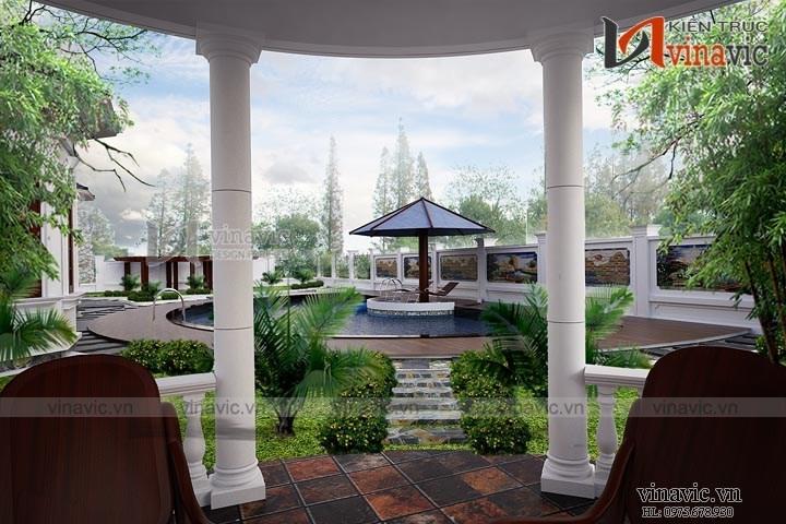 Thiết kế nhà biệt thự tân cổ điển 1 tầng đẹp BT1525