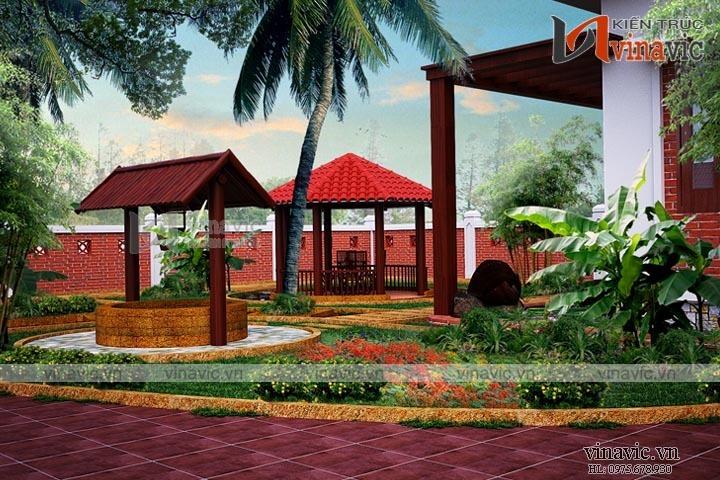 Mẫu thiết kế biệt thự nhà vườn 1 tầng đẹp BT1612