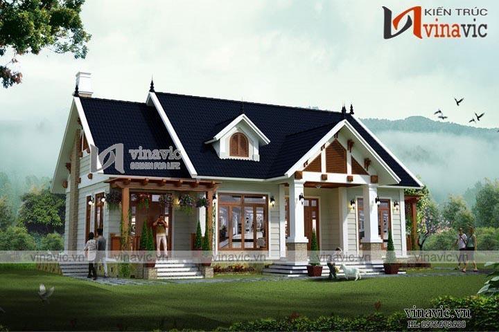 Mẫu thiết kế nhà biệt thự 1 tầng phong cách tân cổ điển BT1616