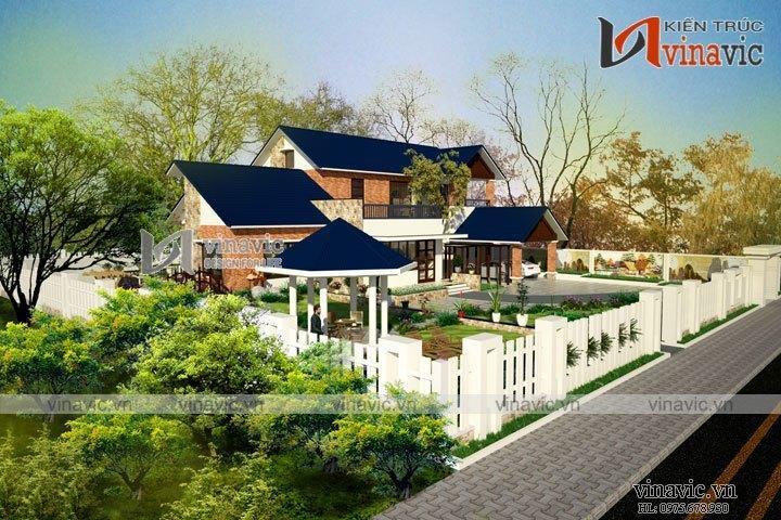 Mẫu biệt thự nhà vườn 2 tầng phong cách hiện đại BT1617