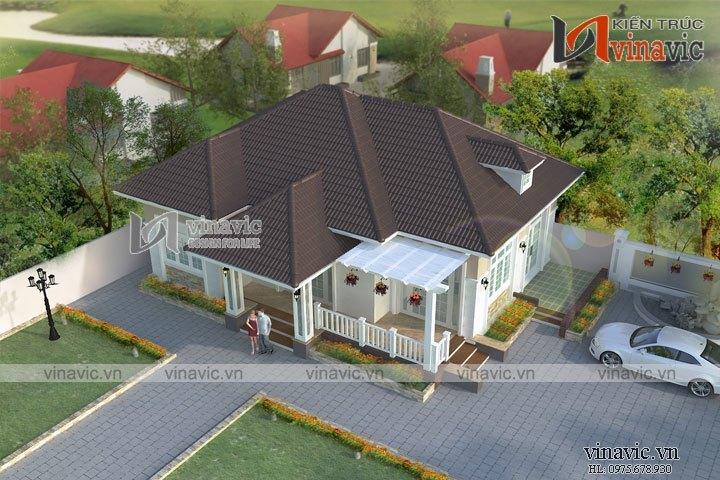 Mẫu thiết kế nhà vuông phong cách hiện đại 1 tầng BT1618