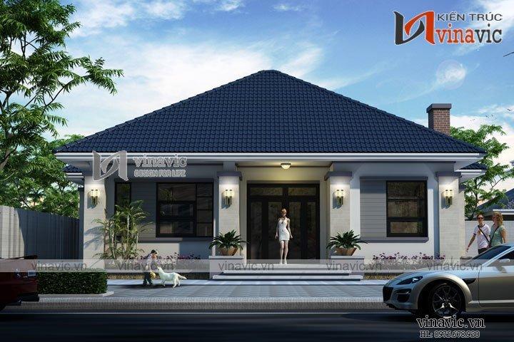 Bản thiết kế nhà vườn 1 tầng 120m2 3 phòng ngủ trên đất 12x10m BT1633