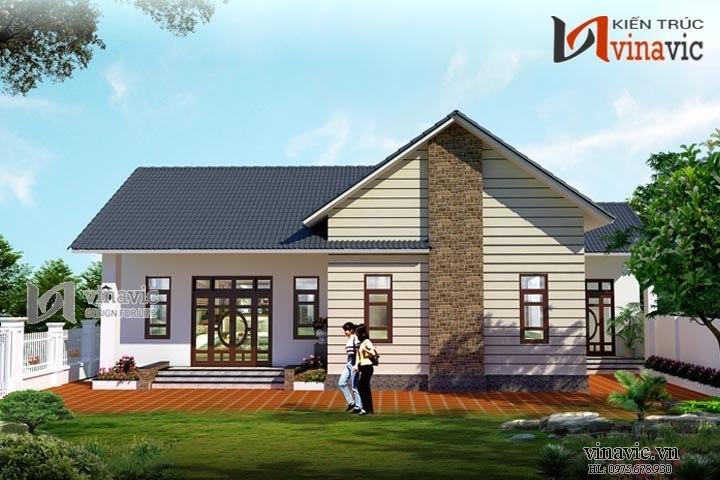 Mẫu thiết kế nhà ngang 17m dài 12m 1 tầng 3 phòng ngủ ở Thái Bình BT1468