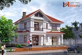Mẫu nhà biệt thự đẹp 2 tầng có khuôn viên đất rộng BT1455