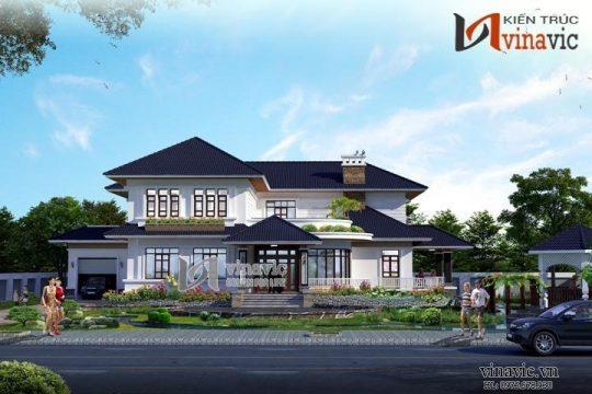 Mẫu thiết kế nhà 2 tầng hình chữ l kích thước 13x14m có gara oto BT1497