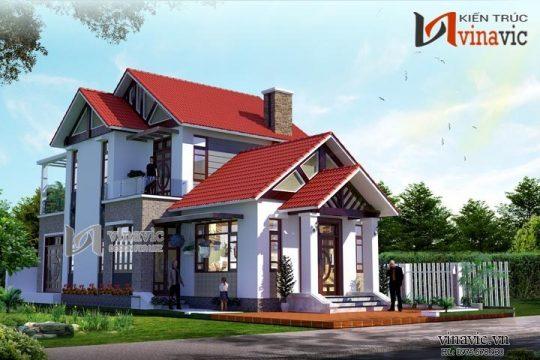 Mặt tiền nhà 2 tầng mái thái ngang 10m dài 16m thiết kế hiện đại BT1499
