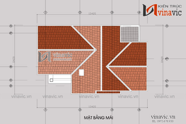 Mẫu nhà chữ L 2 tầng đẹp phong cách tân cổ điển BT1504