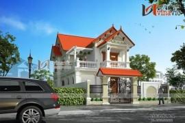 Mẫu nhà mái thái 2 tầng với gam màu trắng sang trọng BT1517
