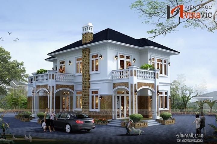 Mẫu nhà biệt thự mái thái 2 tầng đẹp BT1521