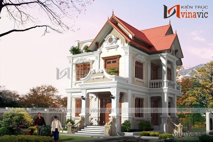 Mẫu biệt thự 2 tầng ngang 13m dài 15m phong cách cổ điển BT1611