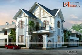 Thiết kế biệt thự tân cổ điển 2 tầng với đường nét tinh tế BT1614