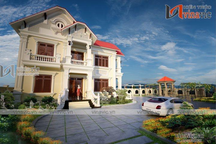 Thiết kế biệt thự 2 tầng phong cách tân cổ điển BT1622