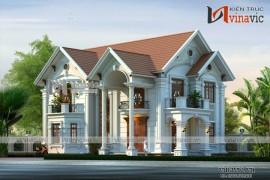 Thiết kế biệt thự 2 tầng tân cổ điển sang trọng BT1624