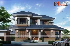 Mẫu nhà biệt thự đẹp 2 tầng mái thái thiết kế vững chãi BT1637