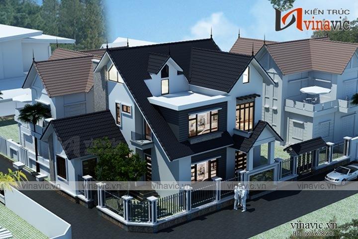 Mẫu nhà biệt thự đẹp 2 tầng kiến trúc độc đáo BT1639