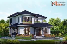 Nhà đẹp 2 tầng kết hợp ô cửa kính lớn BT1401