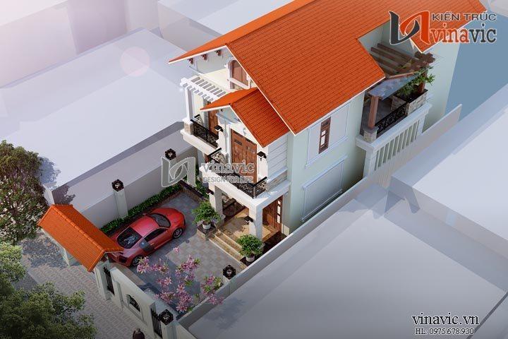Mẫu nhà đẹp 2 tầng với gram màu sáng trẻ trung BT1449
