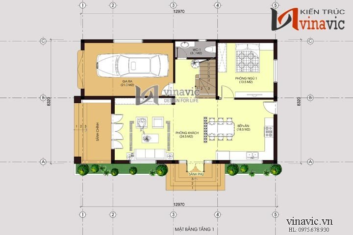 Mẫu thiết kế nhà biệt thự đẹp 2 tầng đơn giản BT1467