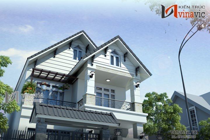 Mẫu nhà biệt thự 2 tầng ngang 8m diện tích 250m2 có gara oto BT1469