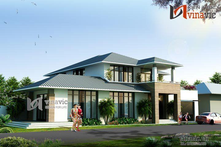 Biệt thự nhà vườn 2 tầng hiện đại 400m2 kích thước 20x15m BT1471