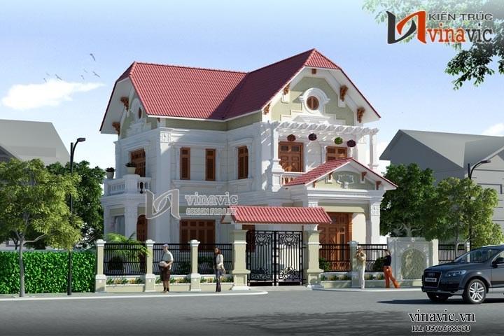 Mẫu thiết kế nhà 2 tầng 3 phòng ngủ 14x16m hình chữ L BT1477