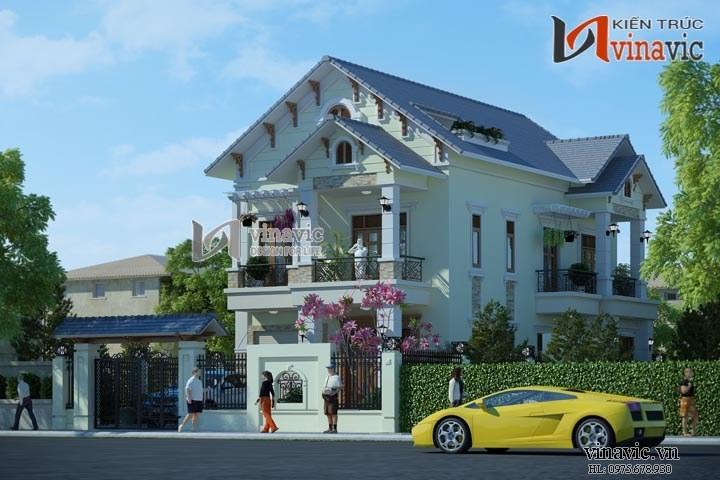 Biệt thự 2 tầng 3 phòng ngủ diện tích 14x16m kiểu tân cổ điển BT1479