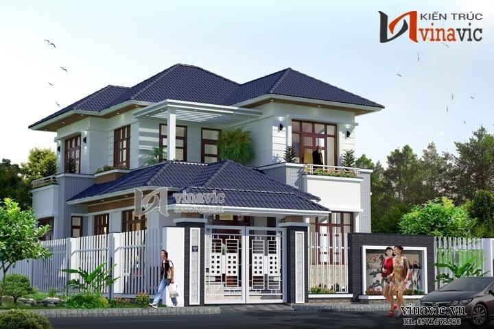 Biệt thự hiện đại 2 tầng mái thái với không gian thoáng mát BT1501