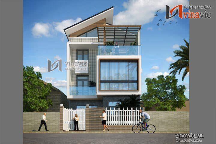 Biệt thự 3 tầng 140m2 hiện đại mặt tiền 10m thiết kế nổi bật BT1452